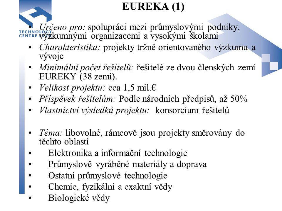 EUREKA (1) Určeno pro: spolupráci mezi průmyslovými podniky, výzkumnými organizacemi a vysokými školami Charakteristika: projekty tržně orientovaného výzkumu a vývoje Minimální počet řešitelů: řešitelé ze dvou členských zemí EUREKY (38 zemí).