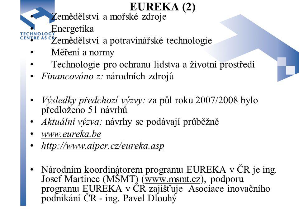 EUREKA (2) Zemědělství a mořské zdroje Energetika Zemědělství a potravinářské technologie Měření a normy Technologie pro ochranu lidstva a životní prostředí Financováno z: národních zdrojů Výsledky předchozí výzvy: za půl roku 2007/2008 bylo předloženo 51 návrhů Aktuální výzva: návrhy se podávají průběžně www.eureka.be http://www.aipcr.cz/eureka.asp Národním koordinátorem programu EUREKA v ČR je ing.