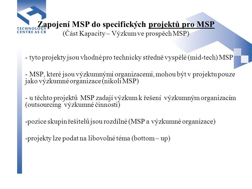 Zapojení MSP do specifických projektů pro MSP (Část Kapacity – Výzkum ve prospěch MSP) - tyto projekty jsou vhodné pro technicky středně vyspělé (mid-tech) MSP - MSP, které jsou výzkumnými organizacemi, mohou být v projektu pouze jako výzkumné organizace (nikoli MSP) - u těchto projektů MSP zadají výzkum k řešení výzkumným organizacím (outsourcing výzkumné činnosti) -pozice skupin řešitelů jsou rozdílné (MSP a výzkumné organizace) -projekty lze podat na libovolné téma (bottom – up)