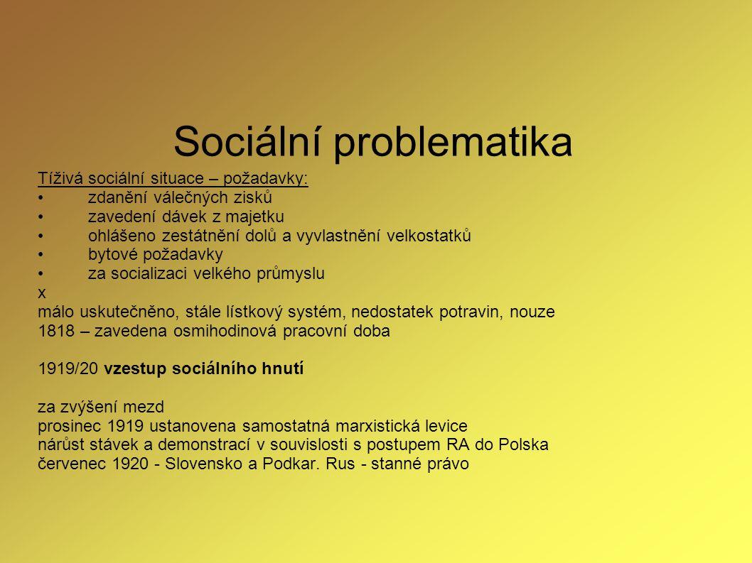 Sociální problematika Tíživá sociální situace – požadavky: zdanění válečných zisků zavedení dávek z majetku ohlášeno zestátnění dolů a vyvlastnění vel