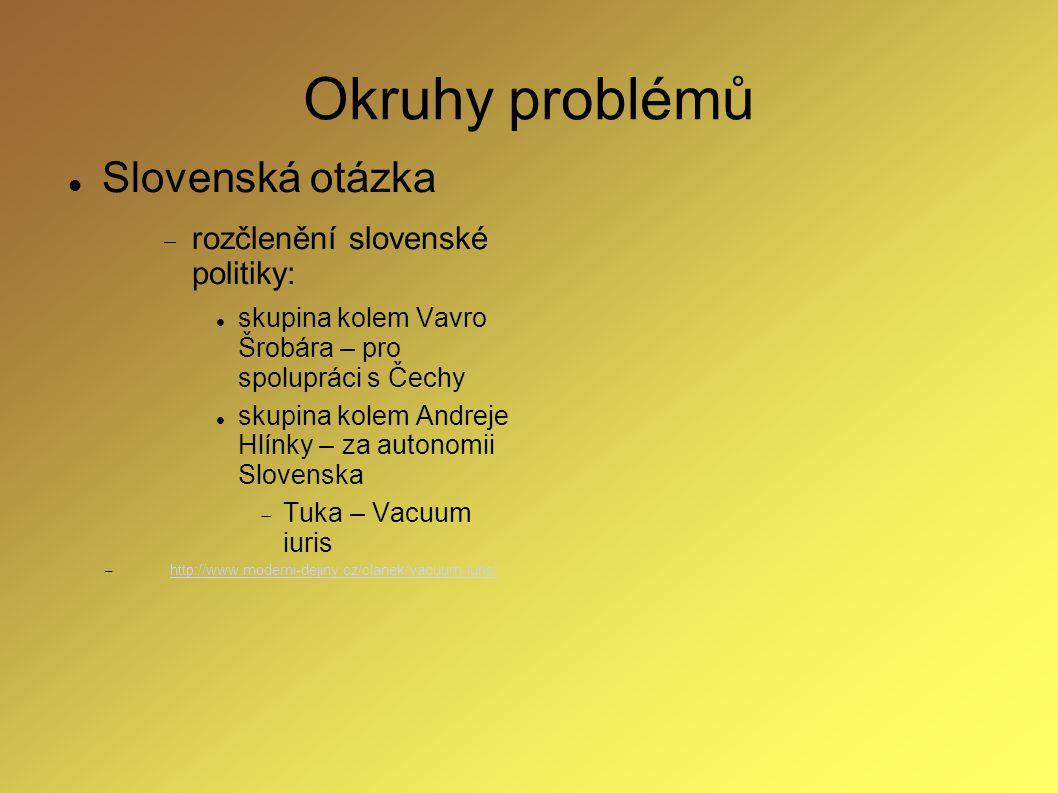 Okruhy problémů Slovenská otázka  rozčlenění slovenské politiky: skupina kolem Vavro Šrobára – pro spolupráci s Čechy skupina kolem Andreje Hlínky –