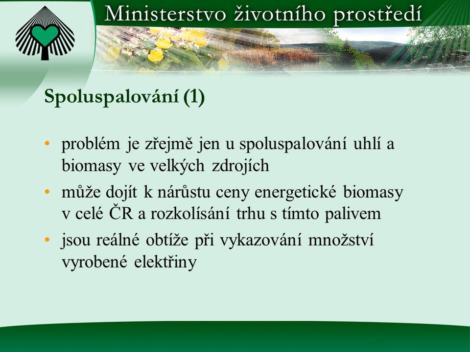 Spoluspalování (1) problém je zřejmě jen u spoluspalování uhlí a biomasy ve velkých zdrojích může dojít k nárůstu ceny energetické biomasy v celé ČR a