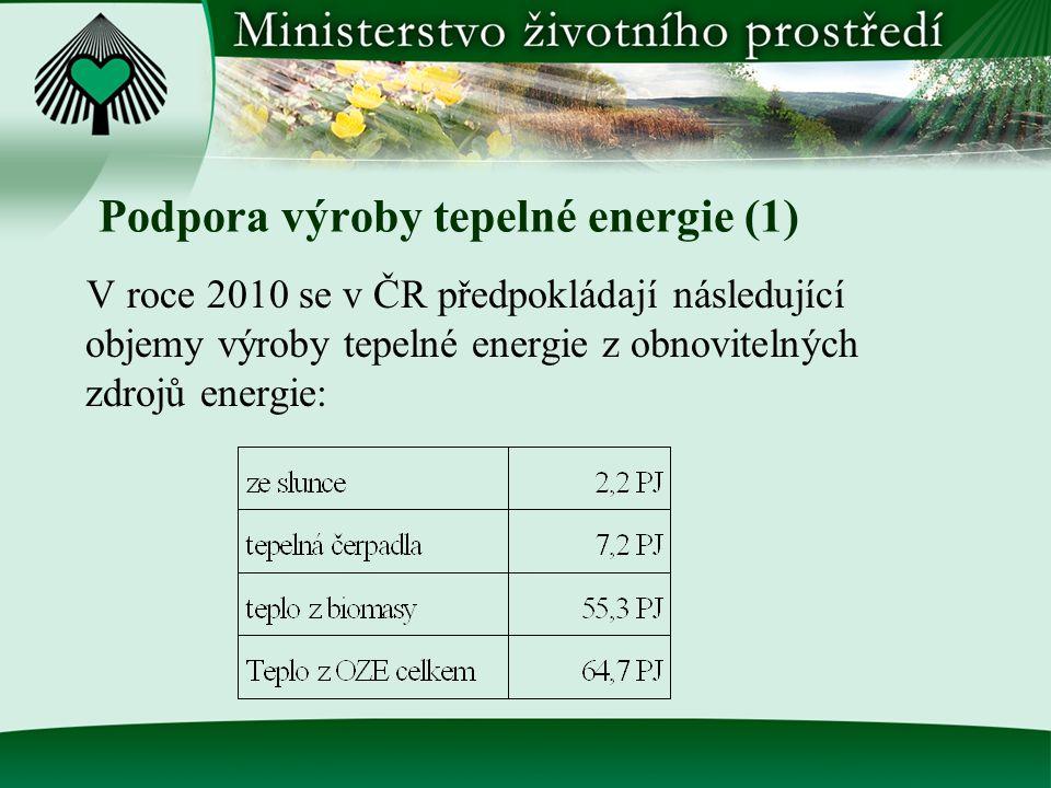 Podpora výroby tepelné energie (1) V roce 2010 se v ČR předpokládají následující objemy výroby tepelné energie z obnovitelných zdrojů energie: