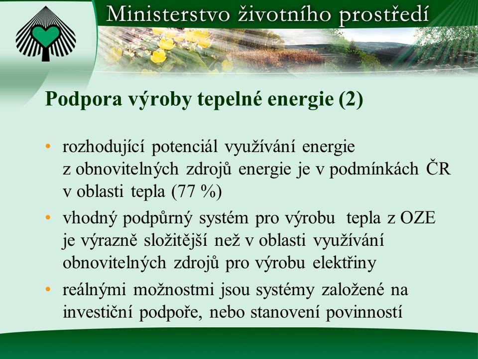 Podpora výroby tepelné energie (2) rozhodující potenciál využívání energie z obnovitelných zdrojů energie je v podmínkách ČR v oblasti tepla (77 %) vh