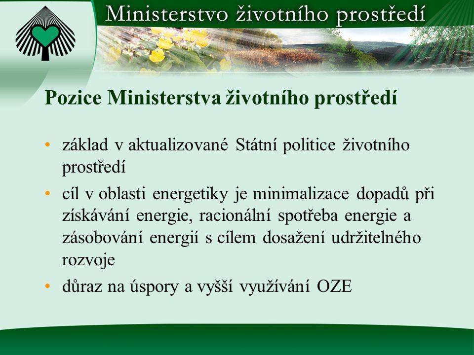 Pozice Ministerstva životního prostředí základ v aktualizované Státní politice životního prostředí cíl v oblasti energetiky je minimalizace dopadů při