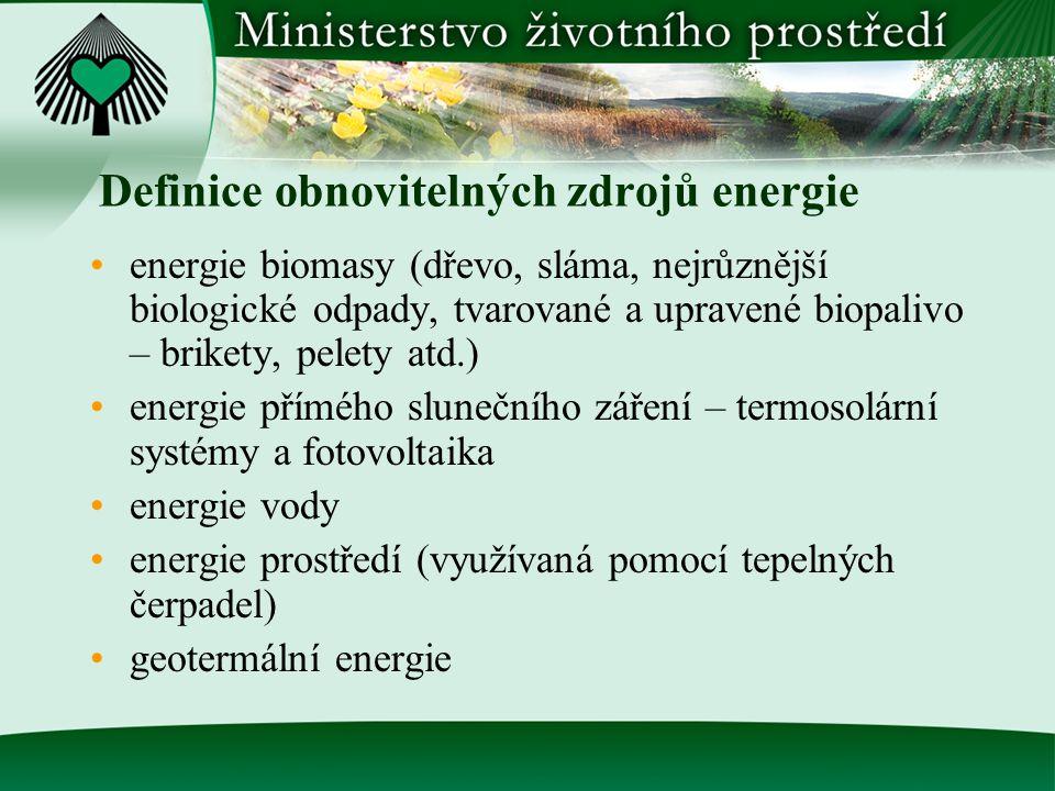 Definice obnovitelných zdrojů energie energie biomasy (dřevo, sláma, nejrůznější biologické odpady, tvarované a upravené biopalivo – brikety, pelety atd.) energie přímého slunečního záření – termosolární systémy a fotovoltaika energie vody energie prostředí (využívaná pomocí tepelných čerpadel) geotermální energie