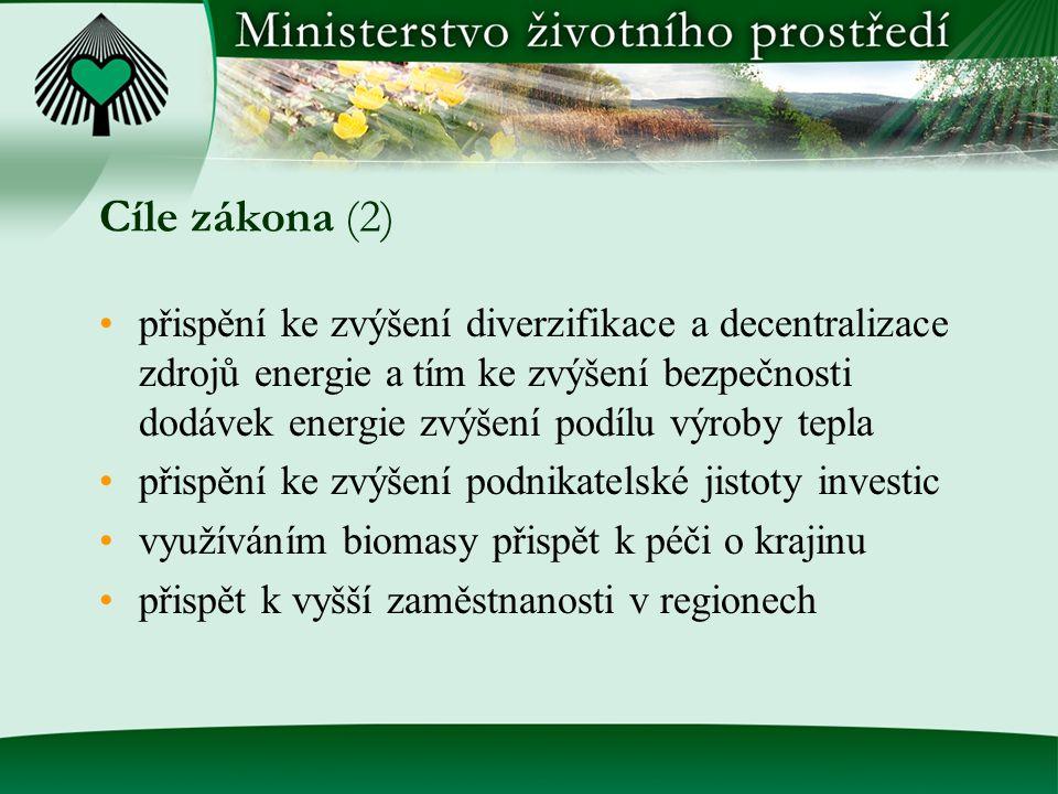 Cíle zákona (2) přispění ke zvýšení diverzifikace a decentralizace zdrojů energie a tím ke zvýšení bezpečnosti dodávek energie zvýšení podílu výroby tepla přispění ke zvýšení podnikatelské jistoty investic využíváním biomasy přispět k péči o krajinu přispět k vyšší zaměstnanosti v regionech