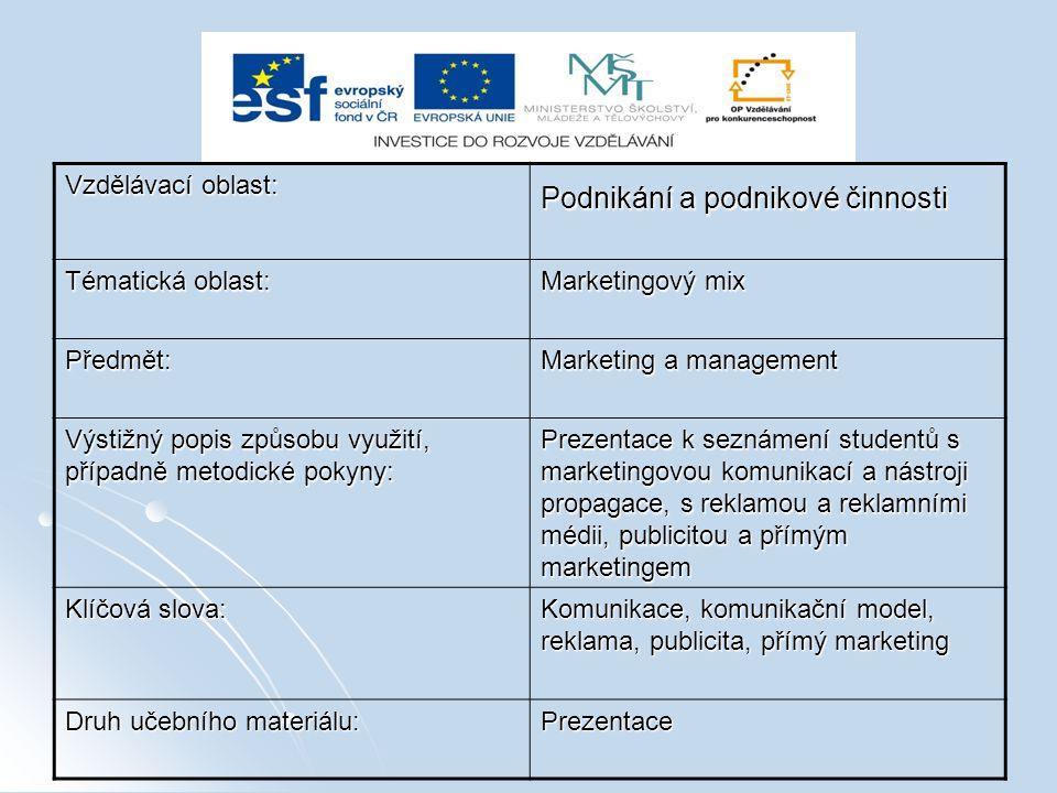 Vzdělávací oblast: Podnikání a podnikové činnosti Tématická oblast: Marketingový mix Předmět: Marketing a management Výstižný popis způsobu využití, p
