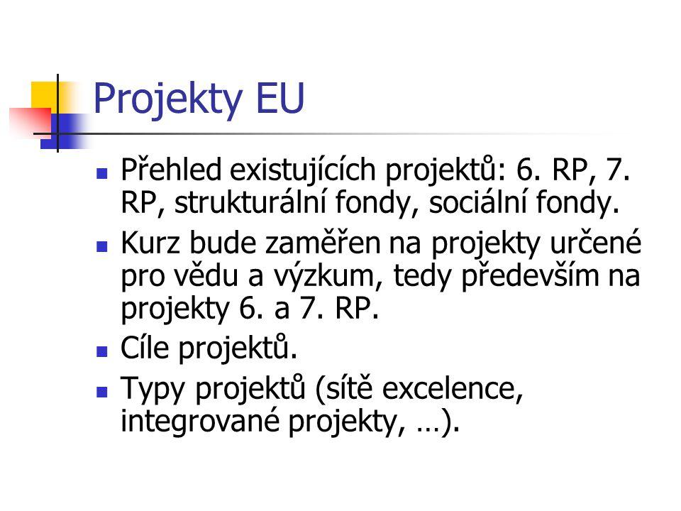Projekty EU Přehled existujících projektů: 6. RP, 7. RP, strukturální fondy, sociální fondy. Kurz bude zaměřen na projekty určené pro vědu a výzkum, t