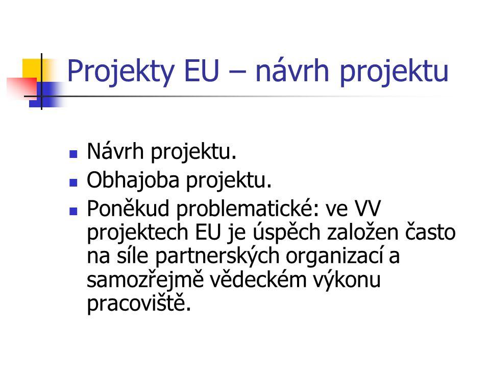 Projekty EU – návrh projektu Návrh projektu. Obhajoba projektu. Poněkud problematické: ve VV projektech EU je úspěch založen často na síle partnerskýc