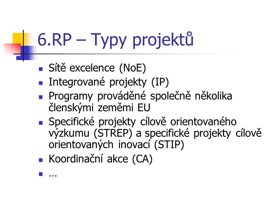 6.RP – Typy projektů Sítě excelence (NoE) Integrované projekty (IP) Programy prováděné společně několika členskými zeměmi EU Specifické projekty cílov