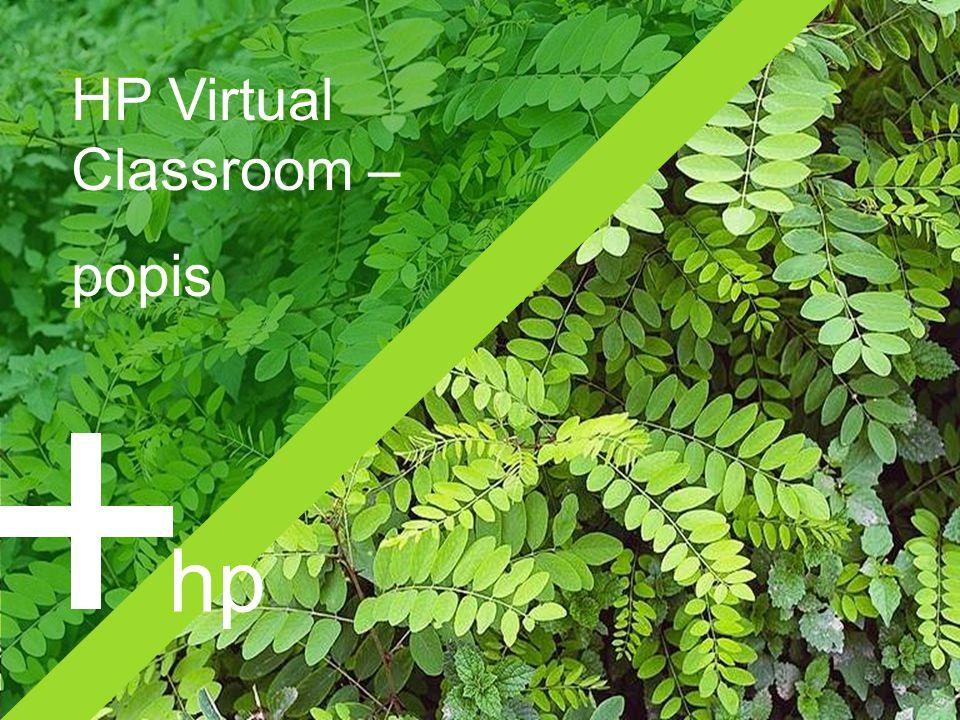 HP Virtual Classroom8 Virtuální třída  SW nástroj dostupný jako webová služba nebo implementovaný v organizaci  pro školení, porady, prezentace, spolupráci  na jednotlivé akce i na dlouhodobý pronájem  jednoduchý přístup přes běžný internetový prohlížeč  hlasová komunikace přes Internet (VoIP) nebo telekonferenci  velká paleta pracovních nástrojů  šifrovaný přenos dat