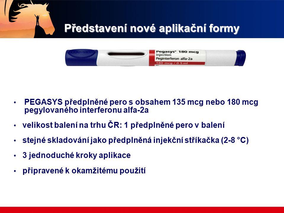Představení nové aplikační formy PEGASYS předplněné pero s obsahem 135 mcg nebo 180 mcg pegylovaného interferonu alfa-2a velikost balení na trhu ČR: 1 předplněné pero v balení stejné skladování jako předplněná injekční stříkačka (2-8 °C) 3 jednoduché kroky aplikace připravené k okamžitému použití