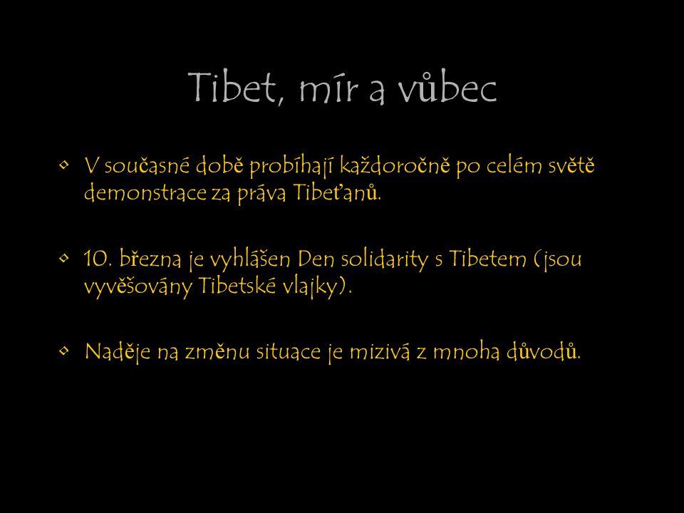 Tibet, mír a vůbec V současné době probíhají každoročně po celém světě demonstrace za práva Tibeťanů. 10. března je vyhlášen Den solidarity s Tibetem