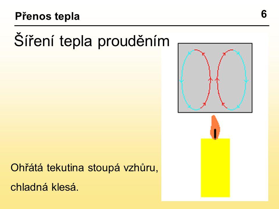 6 Šíření tepla prouděním Ohřátá tekutina stoupá vzhůru, chladná klesá.