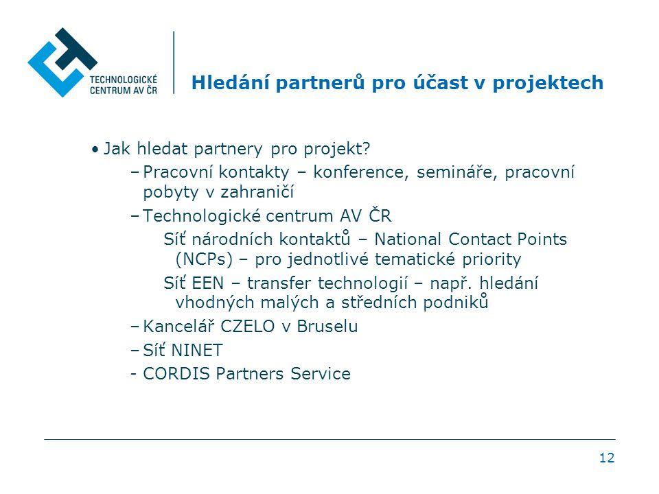 12 Hledání partnerů pro účast v projektech Jak hledat partnery pro projekt? –Pracovní kontakty – konference, semináře, pracovní pobyty v zahraničí –Te