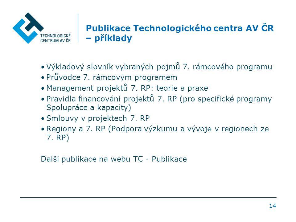 Publikace Technologického centra AV ČR – příklady Výkladový slovník vybraných pojmů 7. rámcového programu Průvodce 7. rámcovým programem Management pr