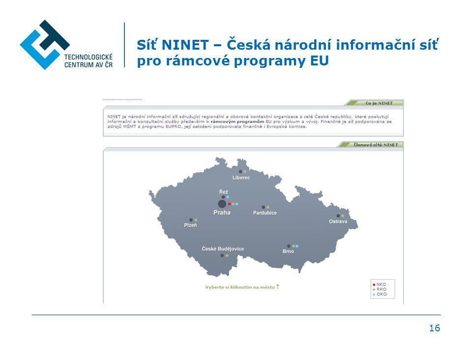 Síť NINET – Česká národní informační síť pro rámcové programy EU 16