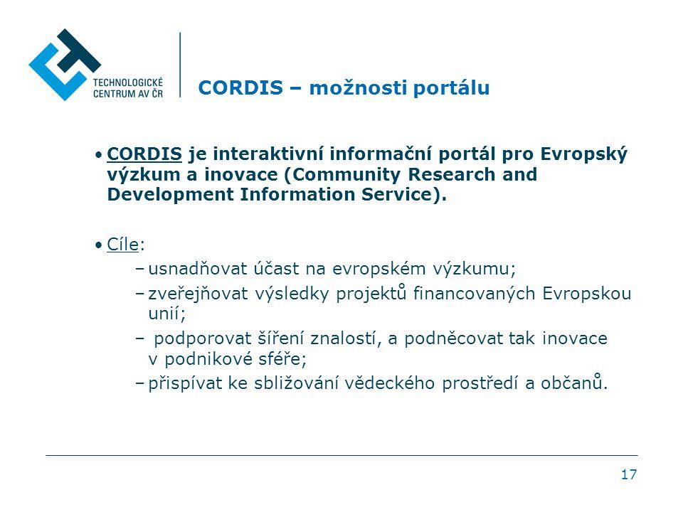 17 CORDIS – možnosti portálu CORDIS je interaktivní informační portál pro Evropský výzkum a inovace (Community Research and Development Information Se