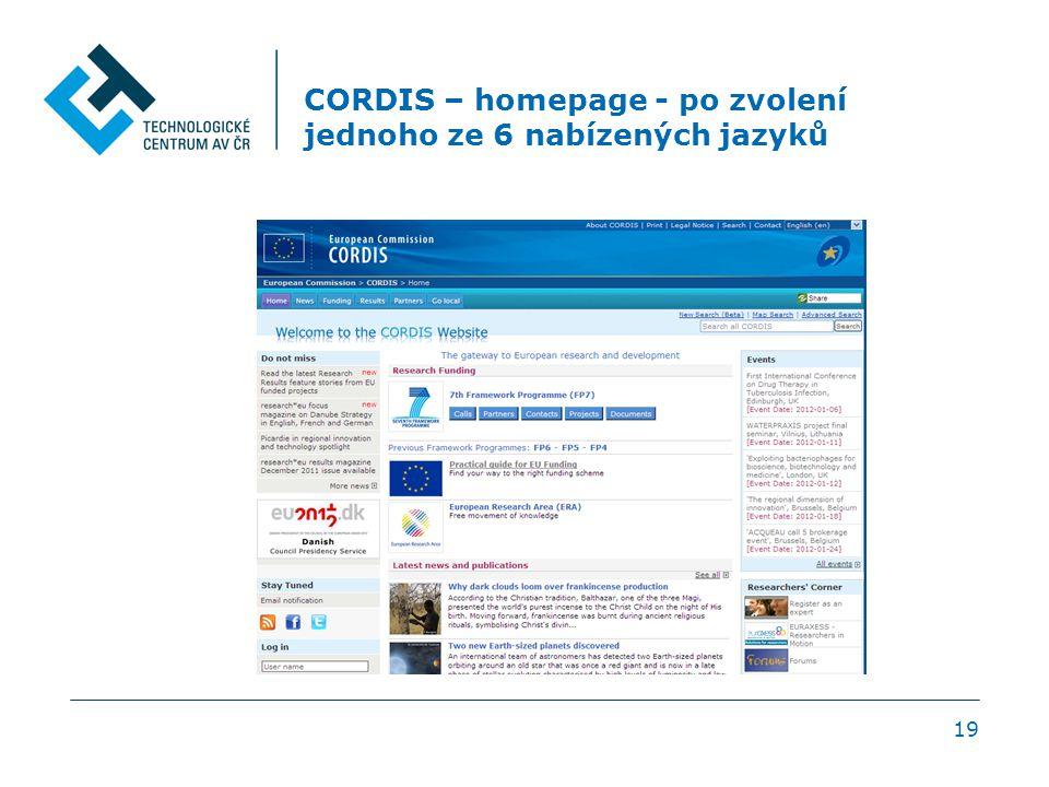 CORDIS – homepage - po zvolení jednoho ze 6 nabízených jazyků 19