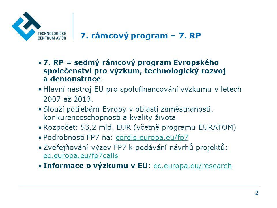 2 7. rámcový program – 7. RP 7. RP = sedmý rámcový program Evropského společenství pro výzkum, technologický rozvoj a demonstrace. Hlavní nástroj EU p