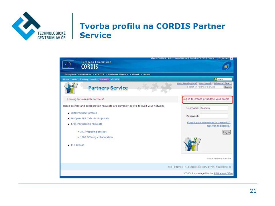 Tvorba profilu na CORDIS Partner Service 21