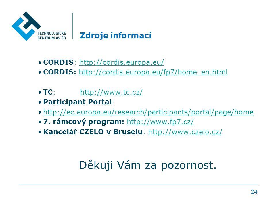 Zdroje informací CORDIS: http://cordis.europa.eu/http://cordis.europa.eu/ CORDIS: http://cordis.europa.eu/fp7/home_en.html http://cordis.europa.eu/fp7/home_en.html TC: http://www.tc.cz/http://www.tc.cz/ Participant Portal: http://ec.europa.eu/research/participants/portal/page/home 7.