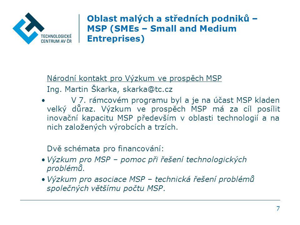 Oblast malých a středních podniků – MSP (SMEs – Small and Medium Entreprises) Národní kontakt pro Výzkum ve prospěch MSP Ing. Martin Škarka, skarka@tc