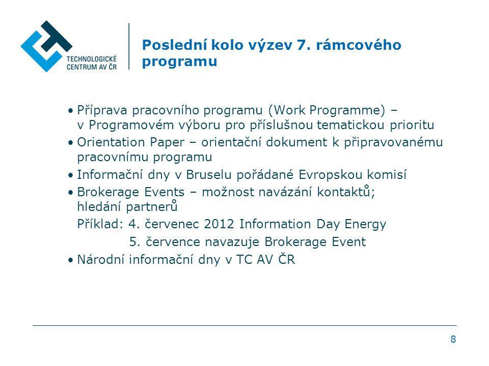 8 Poslední kolo výzev 7. rámcového programu Příprava pracovního programu (Work Programme) – v Programovém výboru pro příslušnou tematickou prioritu Or