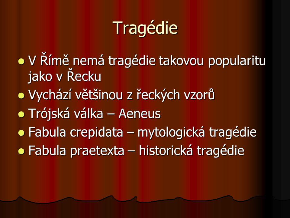 Tragédie V Římě nemá tragédie takovou popularitu jako v Řecku V Římě nemá tragédie takovou popularitu jako v Řecku Vychází většinou z řeckých vzorů Vy