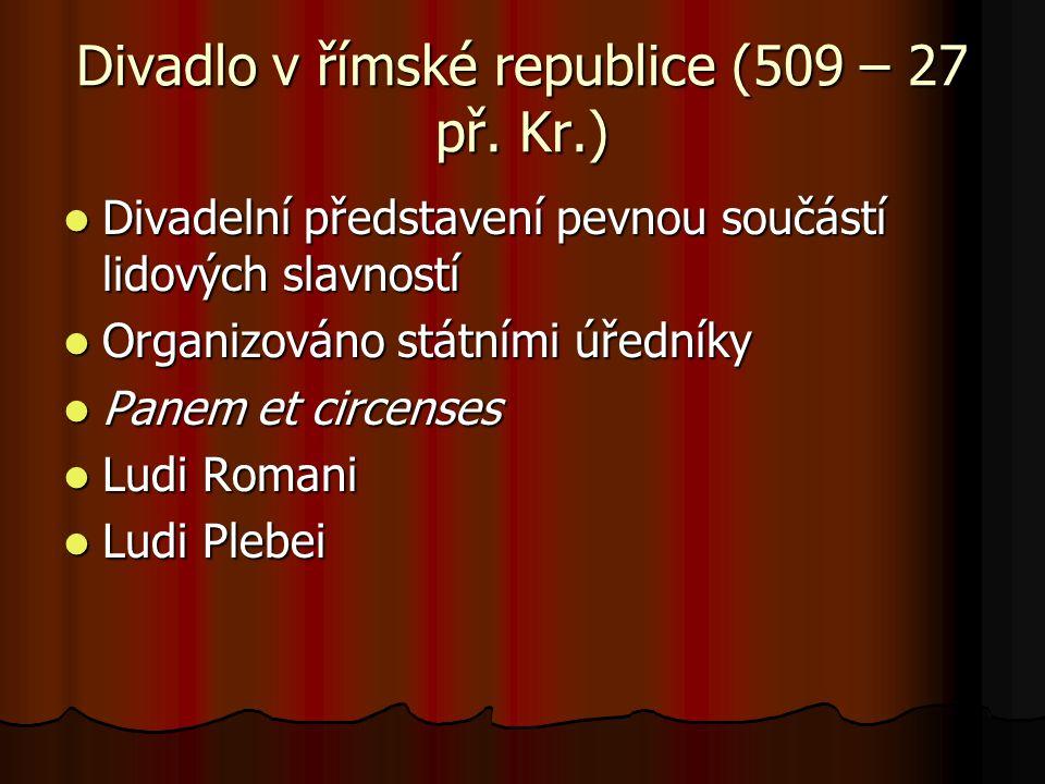 Divadlo v římské republice (509 – 27 př. Kr.) Divadelní představení pevnou součástí lidových slavností Divadelní představení pevnou součástí lidových
