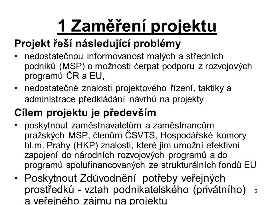 2 1 Zaměření projektu Projekt řeší následující problémy nedostatečnou informovanost malých a středních podniků (MSP) o možnosti čerpat podporu z rozvojových programů ČR a EU, nedostatečné znalosti projektového řízení, taktiky a administrace předkládání návrhů na projekty Cílem projektu je především poskytnout zaměstnavatelům a zaměstnancům pražských MSP, členům ČSVTS, Hospodářské komory hl.m.