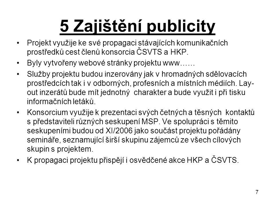 7 5 Zajištění publicity Projekt využije ke své propagaci stávajících komunikačních prostředků cest členů konsorcia ČSVTS a HKP.