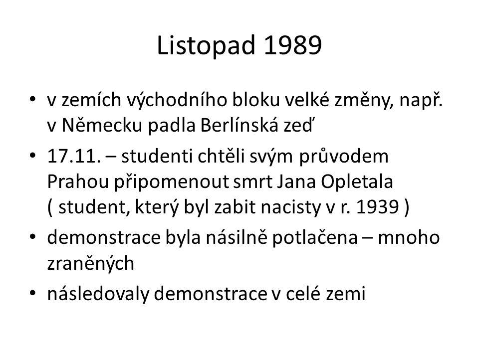 Listopad 1989 v zemích východního bloku velké změny, např.