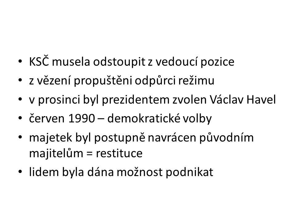 KSČ musela odstoupit z vedoucí pozice z vězení propuštěni odpůrci režimu v prosinci byl prezidentem zvolen Václav Havel červen 1990 – demokratické volby majetek byl postupně navrácen původním majitelům = restituce lidem byla dána možnost podnikat