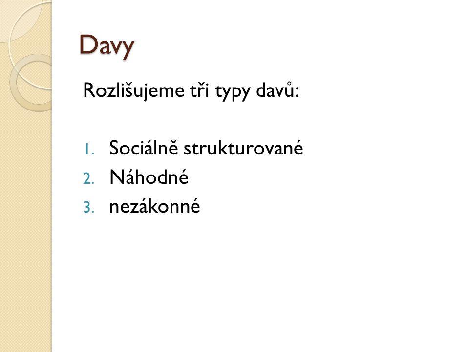 Davy Rozlišujeme tři typy davů: 1. Sociálně strukturované 2. Náhodné 3. nezákonné