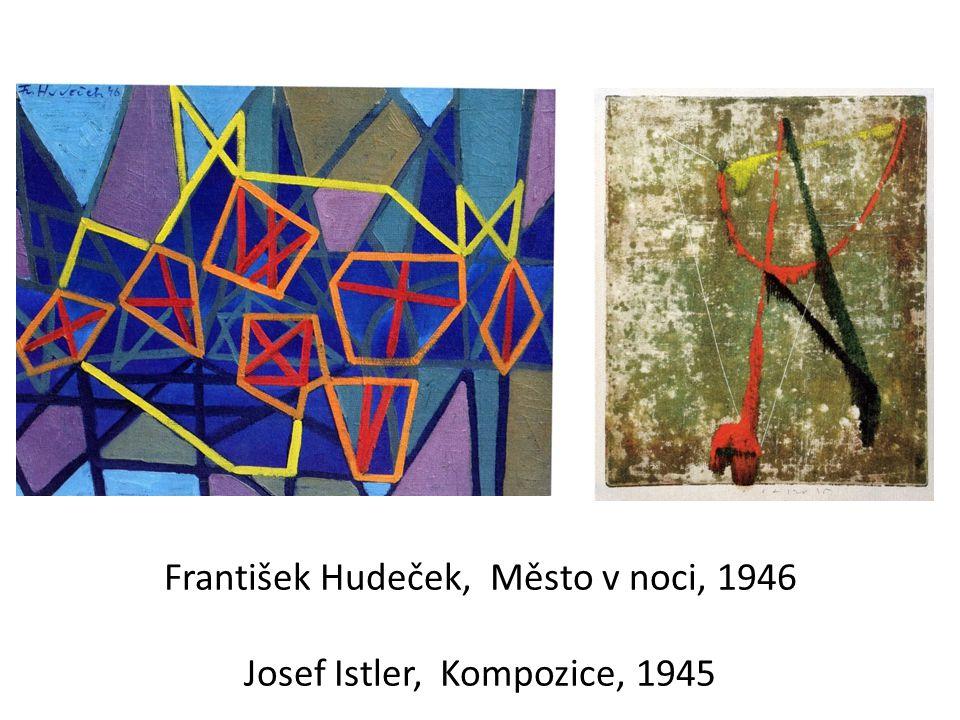 Jan Křížek, Bez názvu, 40.léta Jiří Mrázek, Totem, 1948 Václav Boštík, Bez názvu, 1945