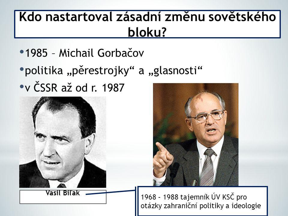 """1985 – Michail Gorbačov politika """"pěrestrojky a """"glasnosti v ČSSR až od r."""