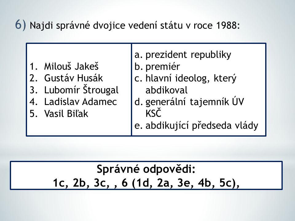 6) Najdi správné dvojice vedení státu v roce 1988: Správné odpovědi: 1c, 2b, 3c,, 6 (1d, 2a, 3e, 4b, 5c), 1.Milouš Jakeš 2.Gustáv Husák 3.Lubomír Štrougal 4.Ladislav Adamec 5.Vasil Biľak a.prezident republiky b.premiér c.hlavní ideolog, který abdikoval d.generální tajemník ÚV KSČ e.abdikující předseda vlády