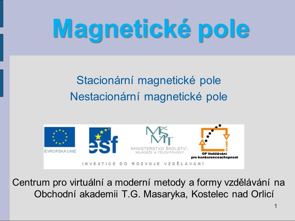 Magnetické pole Stacionární magnetické pole Nestacionární magnetické pole Centrum pro virtuální a moderní metody a formy vzdělávání na Obchodní akademii T.G.