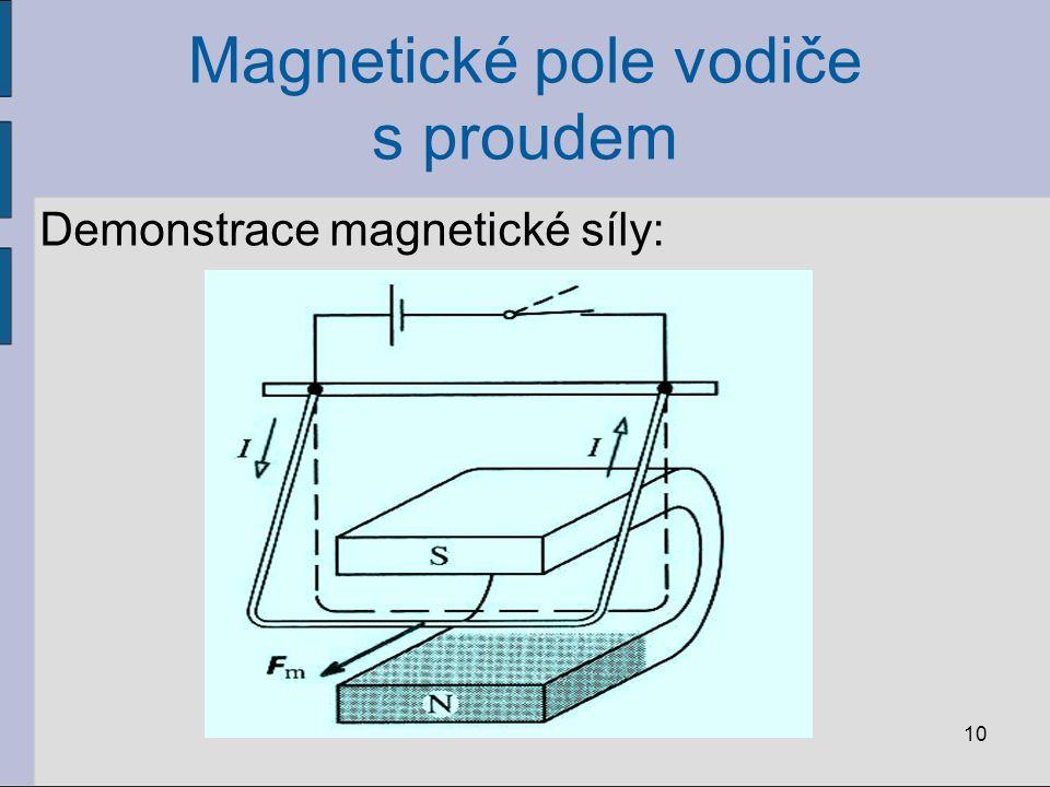 Magnetické pole vodiče s proudem Demonstrace magnetické síly: 10