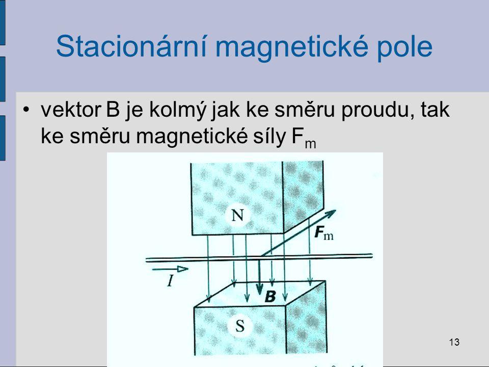 Stacionární magnetické pole vektor B je kolmý jak ke směru proudu, tak ke směru magnetické síly F m 13