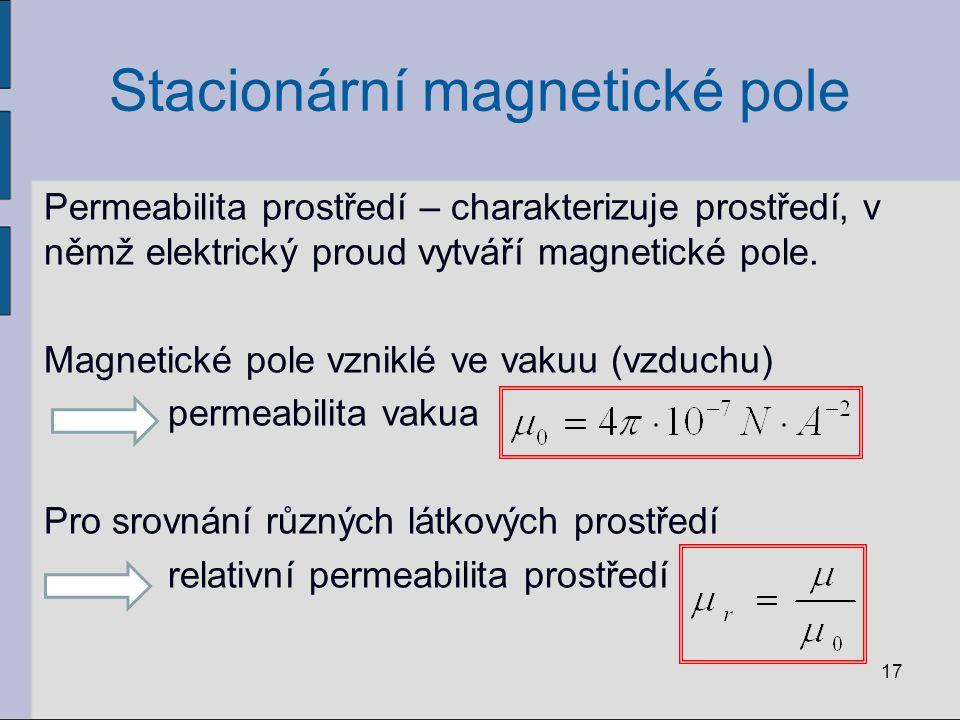 Stacionární magnetické pole Permeabilita prostředí – charakterizuje prostředí, v němž elektrický proud vytváří magnetické pole.