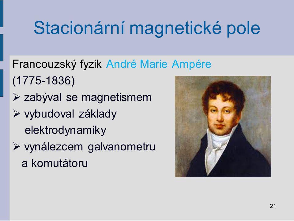 Stacionární magnetické pole Francouzský fyzik André Marie Ampére (1775-1836)  zabýval se magnetismem  vybudoval základy elektrodynamiky  vynálezcem galvanometru a komutátoru 21