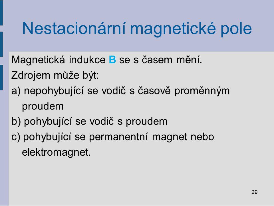 Nestacionární magnetické pole Magnetická indukce B se s časem mění.