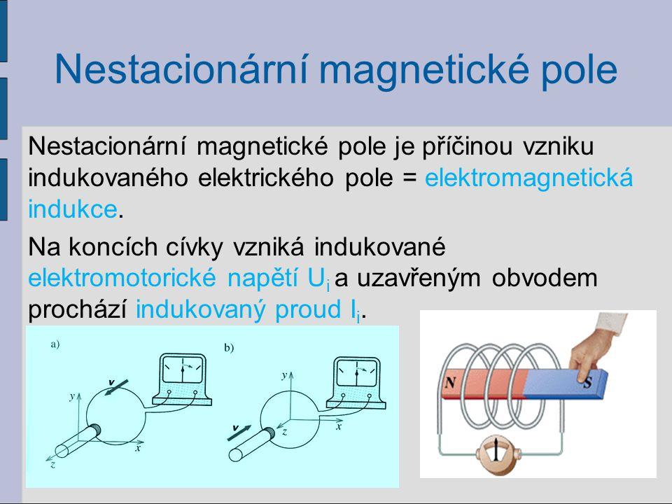 Nestacionární magnetické pole Nestacionární magnetické pole je příčinou vzniku indukovaného elektrického pole = elektromagnetická indukce.