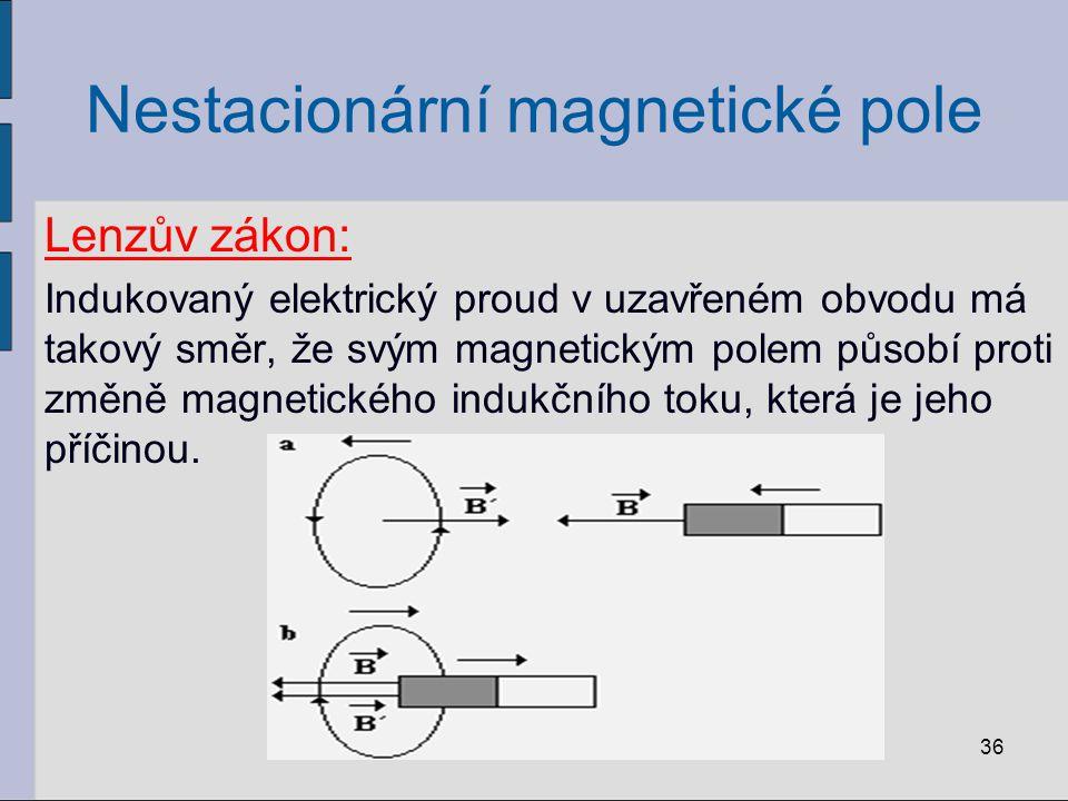 Nestacionární magnetické pole Lenzův zákon: Indukovaný elektrický proud v uzavřeném obvodu má takový směr, že svým magnetickým polem působí proti změně magnetického indukčního toku, která je jeho příčinou.