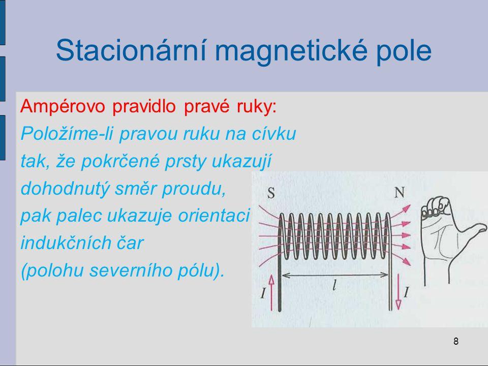 Stacionární magnetické pole Ampérovo pravidlo pravé ruky: Položíme-li pravou ruku na cívku tak, že pokrčené prsty ukazují dohodnutý směr proudu, pak palec ukazuje orientaci indukčních čar (polohu severního pólu).