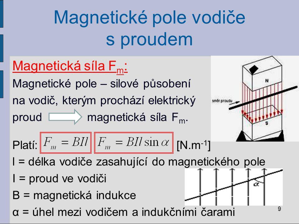 Magnetické pole vodiče s proudem Magnetická síla F m : Magnetické pole – silové působení na vodič, kterým prochází elektrický proud magnetická síla F m.