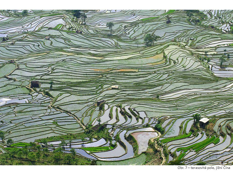 Obr. 7 – terasovitá pole, jižní Čína